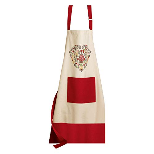 Winkler - Tablier de cuisine - Tablier de cuisine réglable - Tablier pour la cuisine - Tablier barbecue - Tablier 100% Coton - 72 x 85 - Ivoire Ficelle - Hiisel