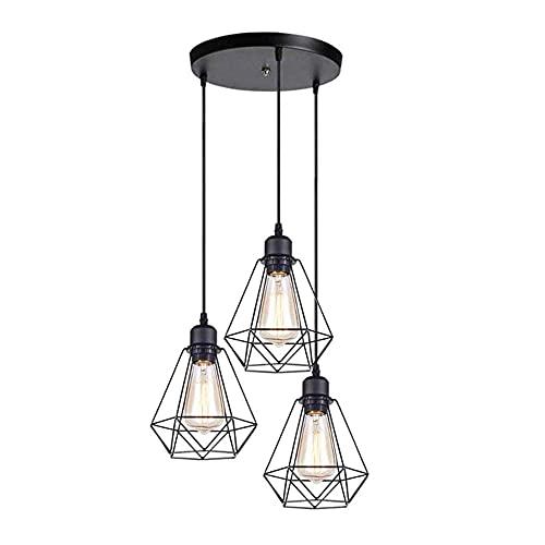 LLLKKK Lámpara de araña retro industrial de estilo europeo con 3 lámparas de araña negra de estilo antiguo, creativa, de hierro forjado, para restaurantes o pequeños candelabros, E27