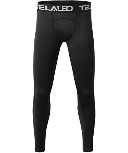 TELALEO Boys' Youth Compression Leggings Pants Tight Athletic Base Layer for Running Hockey Basketball Black 1 Pack M