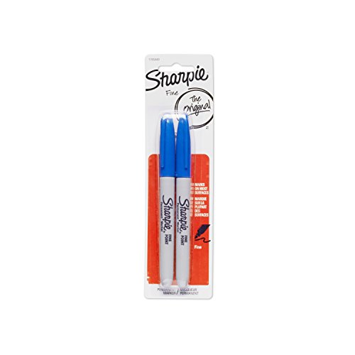 Sharpie Permanent Markers, Fine Point, Blue, 2-Pack (1765449)