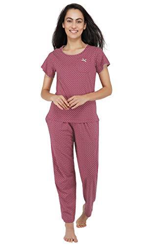 Artemis Women's All Over Floral Print Cotton Pyjama Set (Red...