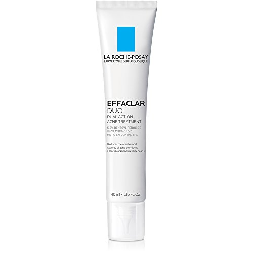 La Roche-Posay Effaclar Duo Dual Action Acne Treatment Cream with Benzoyl Peroxide, 1.35 Fl Oz