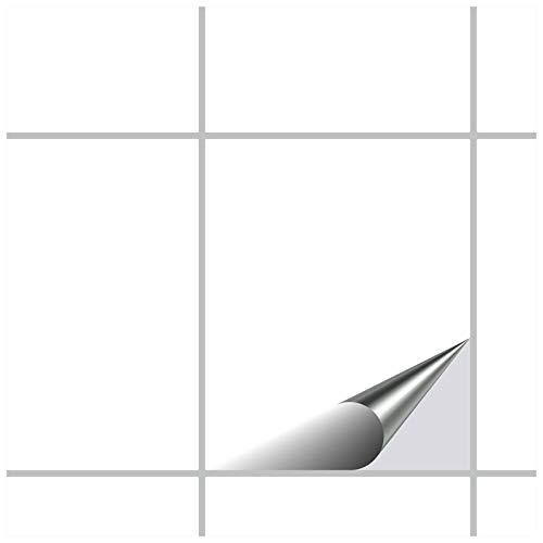 FoLIESEN Fliesenaufkleber 20x25 cm - Fliesen-Folie Bad - Klebefolie Küche - 30 Klebefliesen, Weiß glänzend