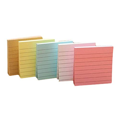 PULABOLined - Bloc de notas adhesivas para notas con forma de cubo, autoadhesivo, material de oficina, 5 unidades, duradero y práctico