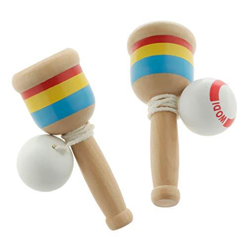 perfeclan 2 Stück Japanisches Kendama Holz Kugelspiel Holzspielzeug Geschicklichkeitsspiele für Drinnen & Draußen