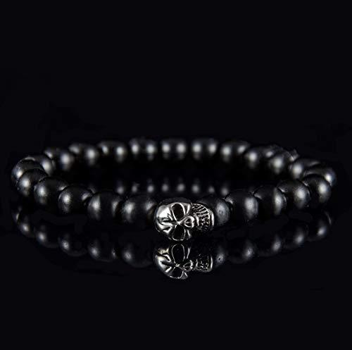 Herren Totenkopf Armband für Männer aus Edelstahl Naturstein Armbänder Perlenarmband schwarz silber Armkette Armreif Totenkopf Skull
