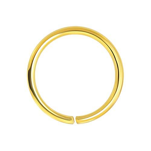 9K Solid gelb Gold 20 Gauge - 8MM Durchmesser Nahtlose kontinuierliche Hoop Nasenring Piercingschmuck