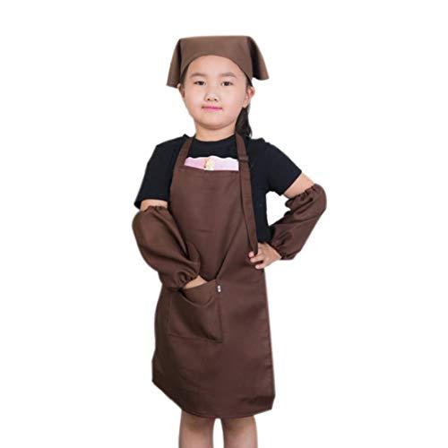 Kinder-Chef-Hut Schürze Set Junge Mädchen Einstellbare Cotton-Schürzen Kitchen Schürzen Mit Taschen Hut Sleeves Kit Für Küche Kochen Backe Wear