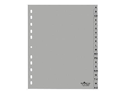 Durable 651010 A-Z Register (A4 geprägte Taben, A-Z 20tlg. aus PP, volldeckend) (10 Stück, A-Z Register)