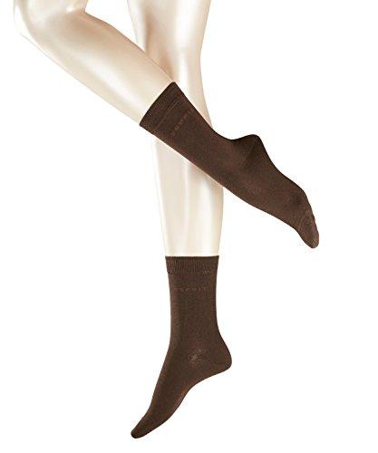 ESPRIT Damen Socken Uni 2-Pack, Baumwolle, 2er Pack, Braun (Dark Brown 5230), 35-38 (UK 2.5-5 Ι US 5-7.5)