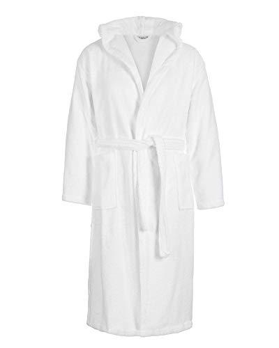 Sense of Home Frottee Bademantel - Morgen-Mantel mit oder ohne Kapuze - Saunamantel Unisex - Damenbademantel & Herrenbademantel lang Weiß   XXXL