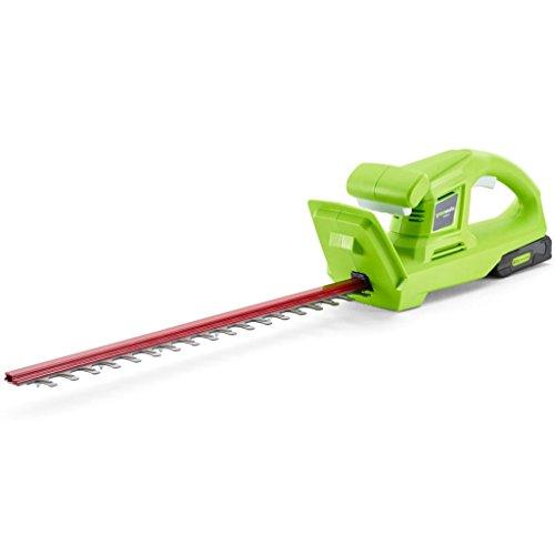 Greenworks Tools Taille-haie sans fil G24HT (Li-Ion 24 V 47 cm longueur de coupe, 17 mm espacement des dents, 2800 coupes/min poignée en forme de T sans batterie ni chargeur)