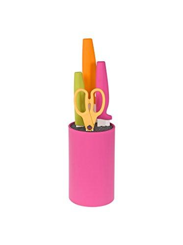 HABI 9746000 Ceppo polipropil Tondo 3 coltelli Ceramica Forbice Utensili da Cucina, Fucsia/Multicolore