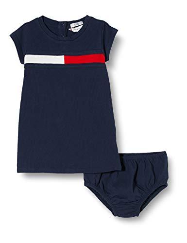 Tommy Hilfiger Mädchen Flag Jersey Dress S/s Kleid, Blau (Twilight Navy 654-860 C87), One Size (Herstellergröße: 86)