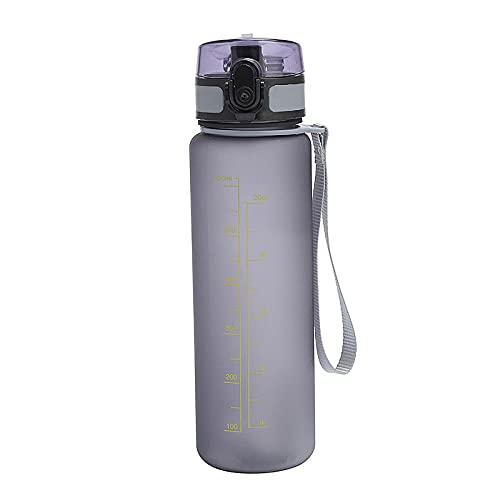 Yidieman Botella de Agua para Deportes de Gimnasio,Botella de Agua portátil al Aire Libre esmerilada-Gray_500ML,Sin BPA tóxico con Tapa con bisagras