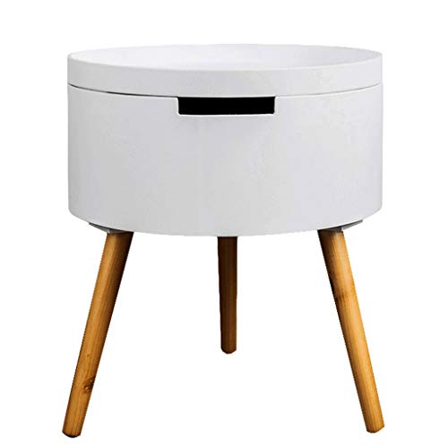 Table Basse Canapé Table D'appoint Ronde Table Basse Stable Antidérapante Stockage Salon Canapé Table D'appoint Simple Table Basse (Color : Blanc, Size : 43 * 38 * 38cm)