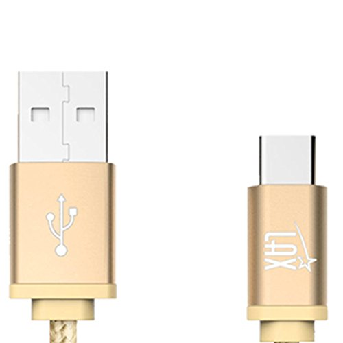USB Type C Cable, LAX Gadgets Braided Cord with Reversible Connector for New MacBook 12 inch, Galaxy Note 9, ChromeBook Pixel, Google Nexus 6P / 5X, Asus Zen AiO (6 Feet, 6 Feet: Gold (2-Pack))