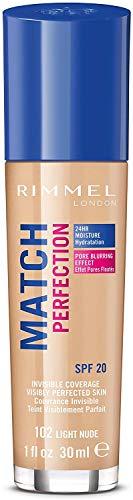Rimmel London Match Perfection Foundation Base de Maquillaje Tono 102 Light Nude - 30 ml