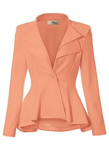 Women Super Comfy Ponte Office Blazer JK43864 1073T Peach 2X