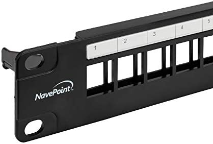 NavePoint 24-Port Cat5/Cat5e/Cat6 Ethernet Patch Panel for 19-Inch Wallmount Or Rackmount Empty for Keystone Insertion Black