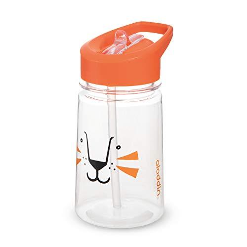 Aladdin Zoo Flip & Sip Kinder-Trinkflasche, 350ml, Orange, Motiv Löwe, Kinderflasche Trinklernflasche Strohhalmflasche