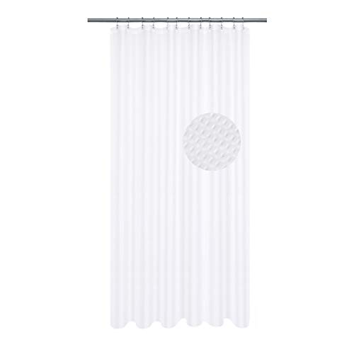 XLong Fabric Shower Curtain with 96 inch Height, Waffle Weave, Hotel Collection, 230 GSM Heavyweight, Water Repellent, Machine Washable, White Pique Pattern Decorative Bathroom Curtain