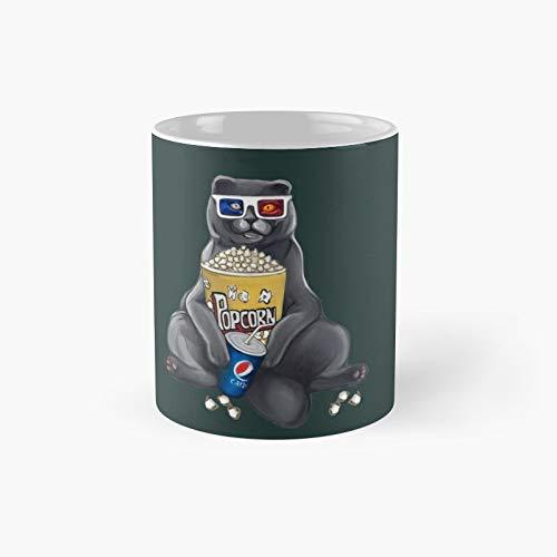 Taza clásica con diseño de gato con palomitas y gafas 3D, 350 ml