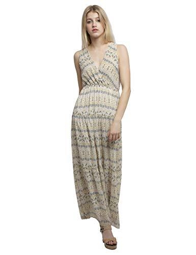 APART langes Damen Kleid, Sommerkleid, crème-Multicolor, Tiefe V-Ausschnitte, hoch angesetzte Taille, Wickeloptik, Creme-Multicolor, 44
