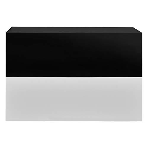 [en.casa]® Wandplank met lade-2 stuks-wit/zwarte hoogglans