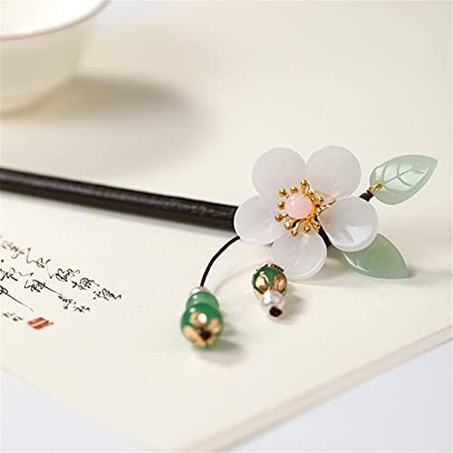 Palillo de pelo, palo de pelo madera horquillero retro chino tradicional clásico palillos clásicos forks ebony sakura flores imitación perla borla moda encanto joyería accesorios para ( Color : B )