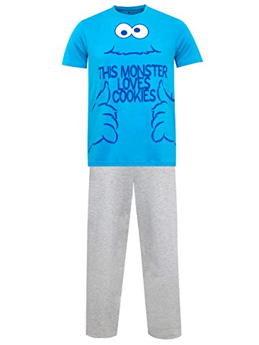 Sesame Street Pijama para Hombre Monstruo de Las Galletas Azul Large