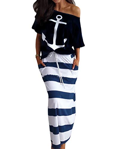 HAHAEMMA dames mode 2 stuks set outfits anker print bandloos T-shirt korte mouwen + gestreepte rok elegante tweedelige bohemian maxi-jurk avondjurk partyjurk strandjurk lang casual jurk