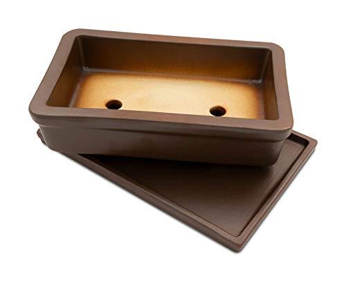 K&K Bol à bonsaï en céramique avec soucoupe Marron mat 29 x 18 x 7 cm