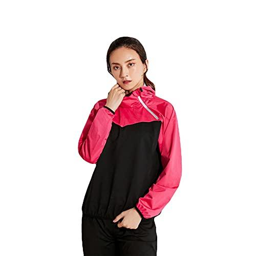 LWKBE Saunaanzug für Frauen Sweat Swata Sauna Colorblock Fitness Sportjacke mit Taschenjacke Gym Workout Sweat Workout Anzüge für Frauen,Rosa,XXL