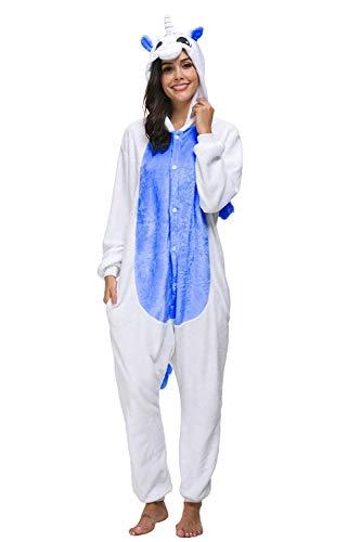 Mescara Einhorn Kostüm Pyjama Jumpsuit Cosplay Schalfanzug Festliche Anzug Flanell Tierkostüm Kartonkostüm Tierschalfanzug (Dunkelblau, XL: für Höhe 175-180CM)