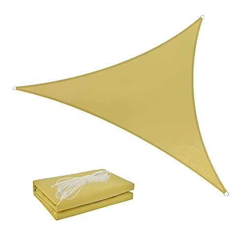 Shade Spring Triangle Sand 3x3x3m Parasol Impermeable Vela 95% Toldo de Bloque UV Toldo de protección Solar para jardín al Aire Libre Patio Patio