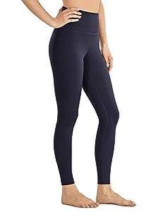CRZ YOGA Mujer Naked Feeling Deportivos 7/8 Leggings Yoga Fitness Pantalon de Cintura Alta con Bolsillos-63cm Azul marino-R009 42
