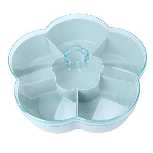 Cabilock Snack Teller Dekorativ Blume Design Kunststoff Unterteilt Snack Schalen Süßigkeiten Nuss Aufbewahrungsbox Candy Box mit Deckel für Zuhause Hochzeit Weihnachtsfeier (Grün)