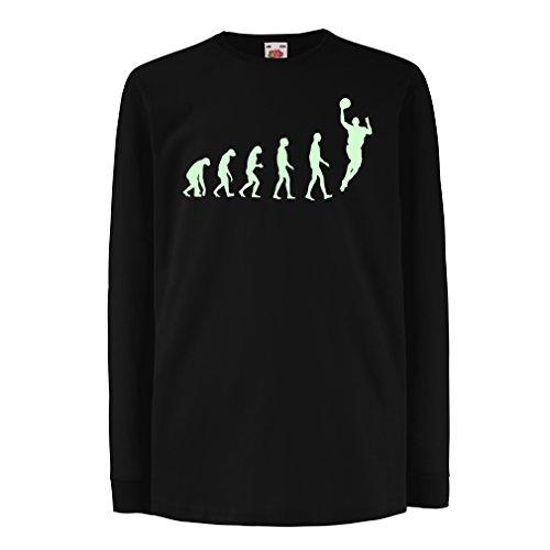 Camisetas de Manga Larga para Niño evolución de Baloncesto - Canasta de la Calle, me Encanta Este Juego, Gran Fan de Regalo (5-6 Years Negro Fluorescente)