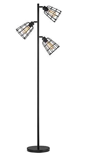 Modern Floor Lamp for Living Room Bright Lighting Tall Stand Up Lamp Farmhouse Rustic Industrial Black Tree Floor Lamps for Bedrooms, Office with Reading Light Standing Lamp