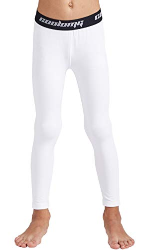 COOLOMG Boys Girls Thermal Compression Pants Base Layer Tights Sports Fitness Running White S