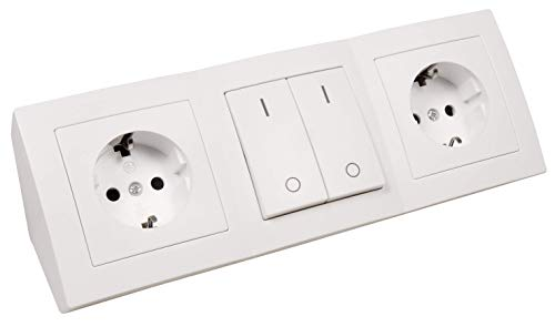 MC POWER - Steckdosenblock Unterbausteckdosen | FLAIR | 2x Schutzkontaktsteckdosen + 1x Schalter, 250V~ / 16A, Aufbau, weiß, matt
