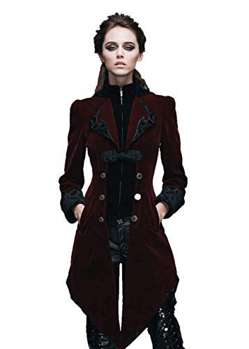 Steampunk Swallow Tail Coat Gothic Women's Long Winter Jacket (S, Red)