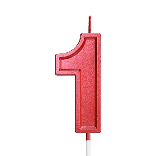 Birthday Candle Numbers Red Glitter Happy Birthday Numeral for Weddings, Reunions, Theme Party Perfect Baby's Pet's Birthday Cake Candle (Red, 1)
