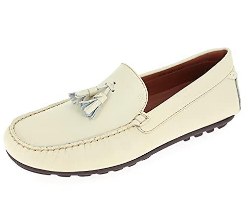 Chaussures Mocassins Hommes Beige en Cuir avec Pompons...