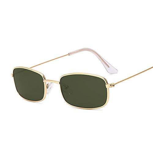 IRCATH Gafas de Sol rectangulares de Moda Vintage para Mujer, Gafas de Sol de Metal con Espejo Dorado Rosa para Mujer, UV400 para Pesca de Golf-C3