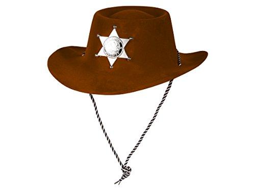 Alsino Kunststoff Samt Karneval Scherzartikel Cowboy Hut Sheriff Plastik Stern Partyhut Fasching, Variante wählen:Sheriff Hut braun
