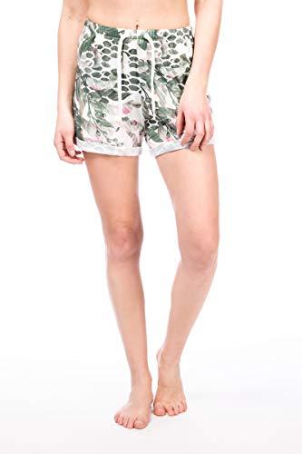 Super.Natural Short Confortable en Laine mérinos pour Femme - Taille L - Couleur : Blanc/Beige