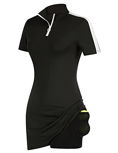 JACK SMITH Women's Tennis Golf Dress Moisture Wicking Short Sleeve Athletic Dress with Shorts for Exercise Workout Black M