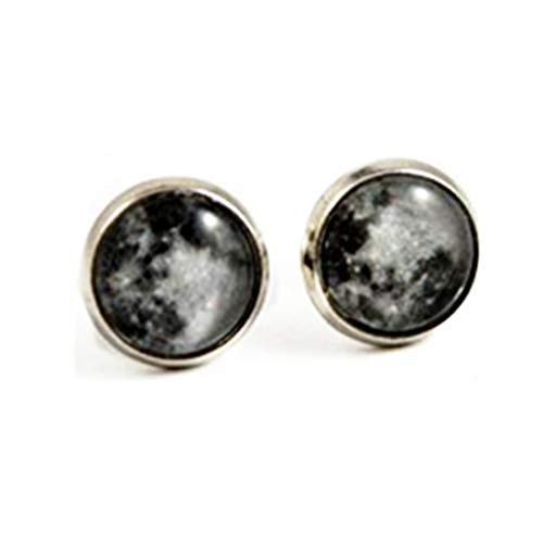 Full Moon Stud Earrings, Celestial Moon Jewelry, Moon Lover Gift,Dome Glass Ornaments, Gifts for him